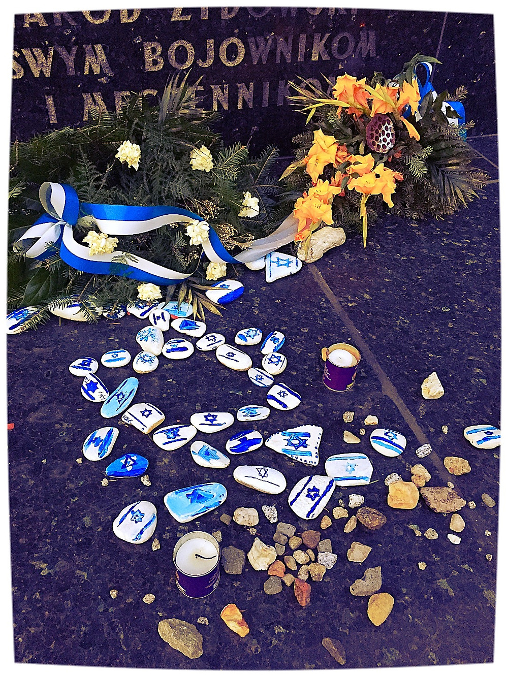Decorated Stone Tokens at Memorial Site