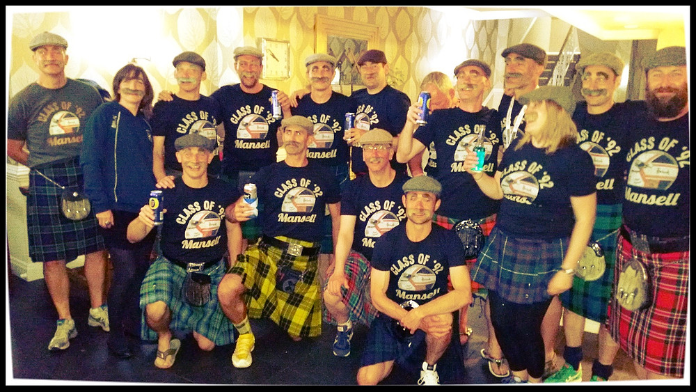 Scotland's Mens Over 40 Squad Dressed as Nigel Mansell