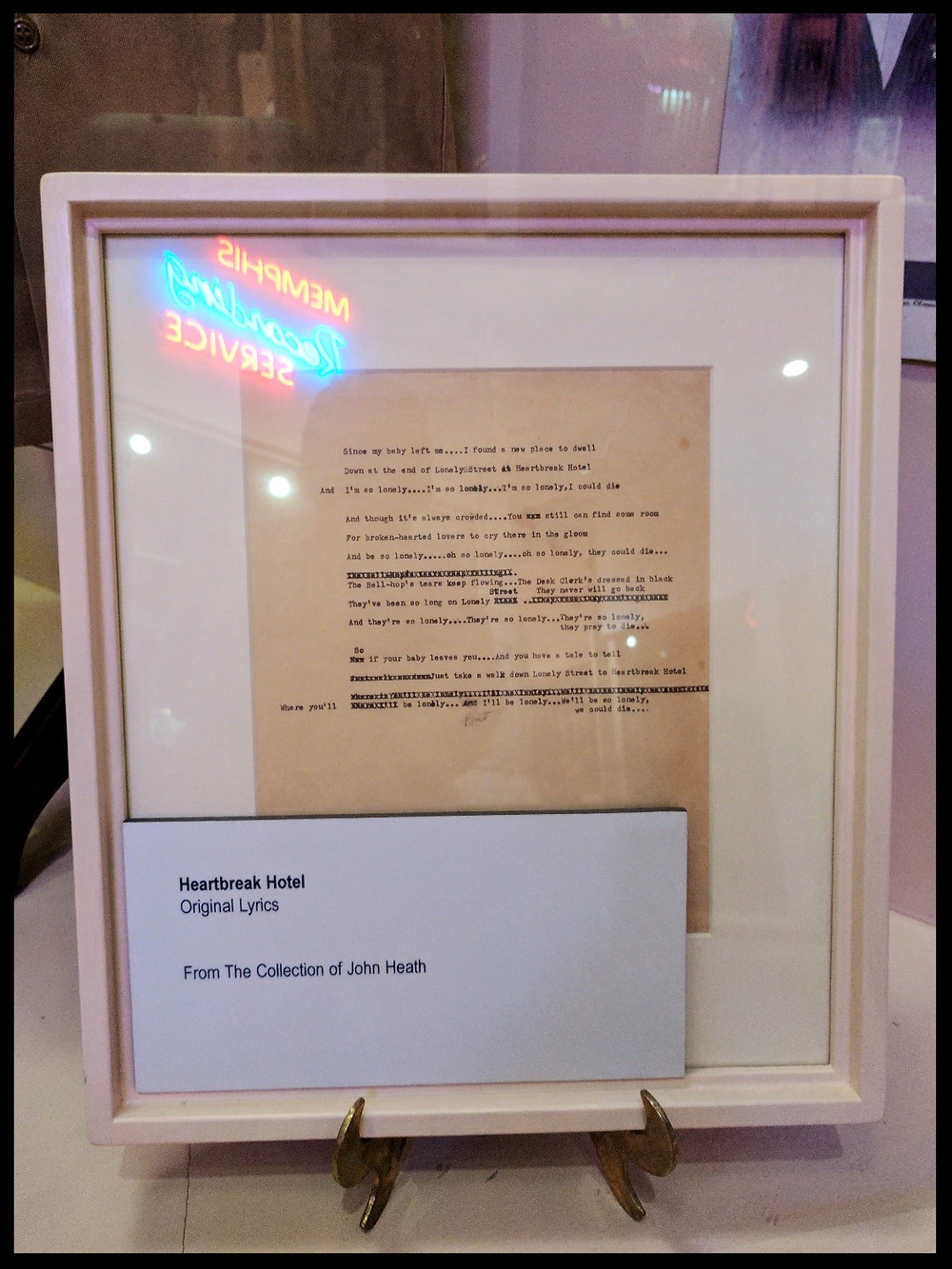 Heartbreak Hotel lyrics at the Memphis Rock 'n' Soul Museum