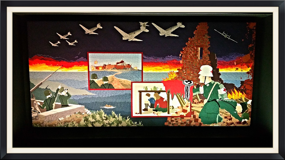 Colorful Tapestry Panel Depicting Life in Jersey During WWII