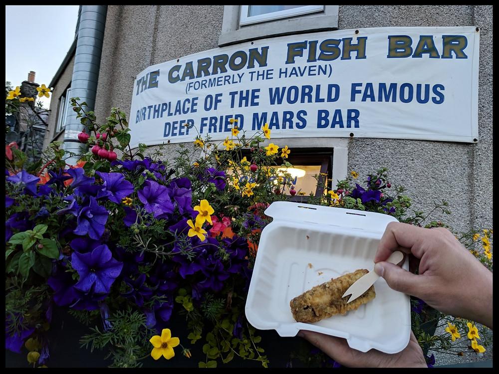 Deep-fried Mars Bar at The Carron Fish Bar, Stonehaven