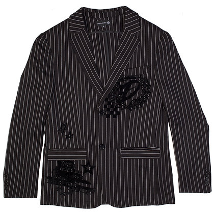 DS9116 BLAZER WITH FLOCK PRINTED GRAPHIC