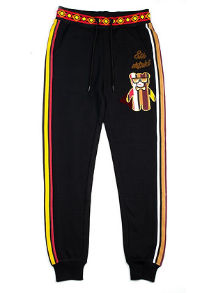 DF8204 MULTI STRIPE PRINTED FLEECE JOGGER