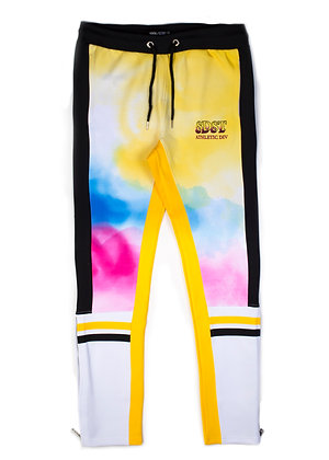 DS9203 WATER COLOR PAINTING EFFECT OPEN BOTTOM JOGGER PANTS