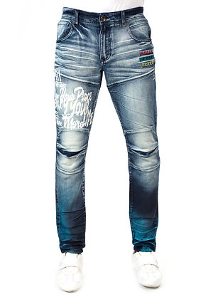 DS9300 SPRAY EFFECT / CALIGRAPHY PRINTED MOTO KNEE DENIM PANTS