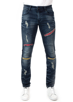 DS9311 RIP AND REPAIR WITH CONTRAST FABRIC BACKED DENIM PANTS