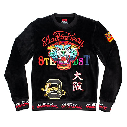 DF8805 MULTI EMBROIDERY VELOUR CREWNECK