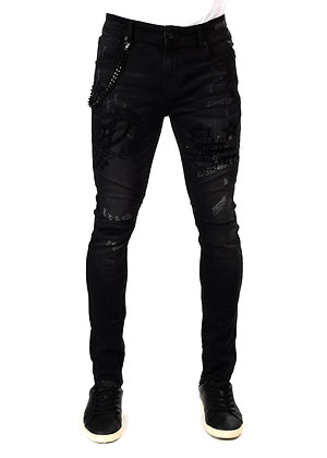 DS9306 FLOCK PRINTED/ CHAIN ATTACHED DENIM PANTS