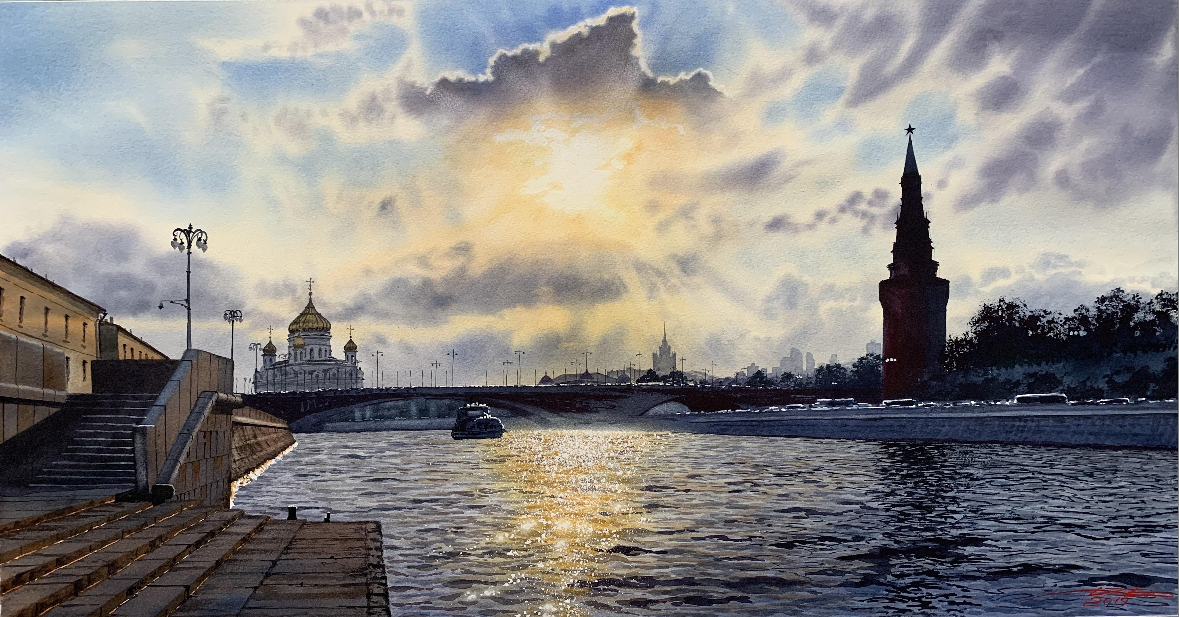 Moscow river. Kremlin.