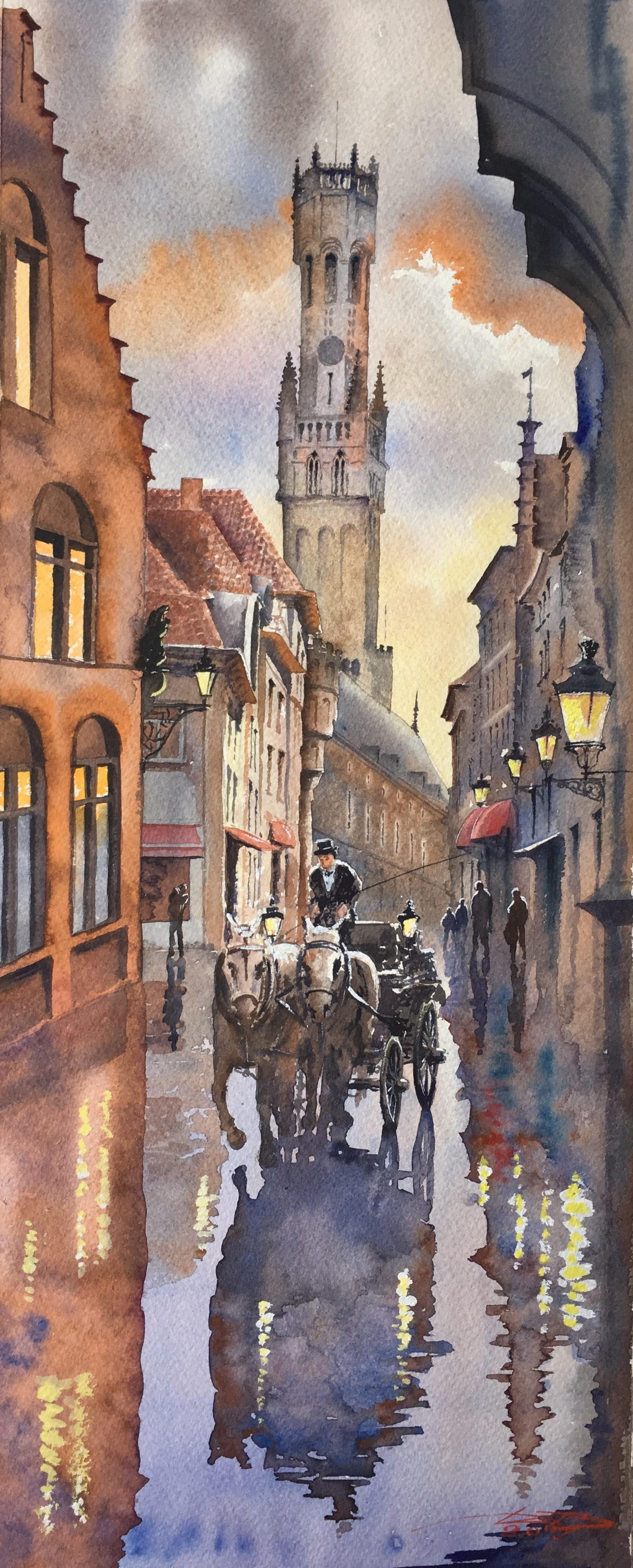Rainy evening in Brugge