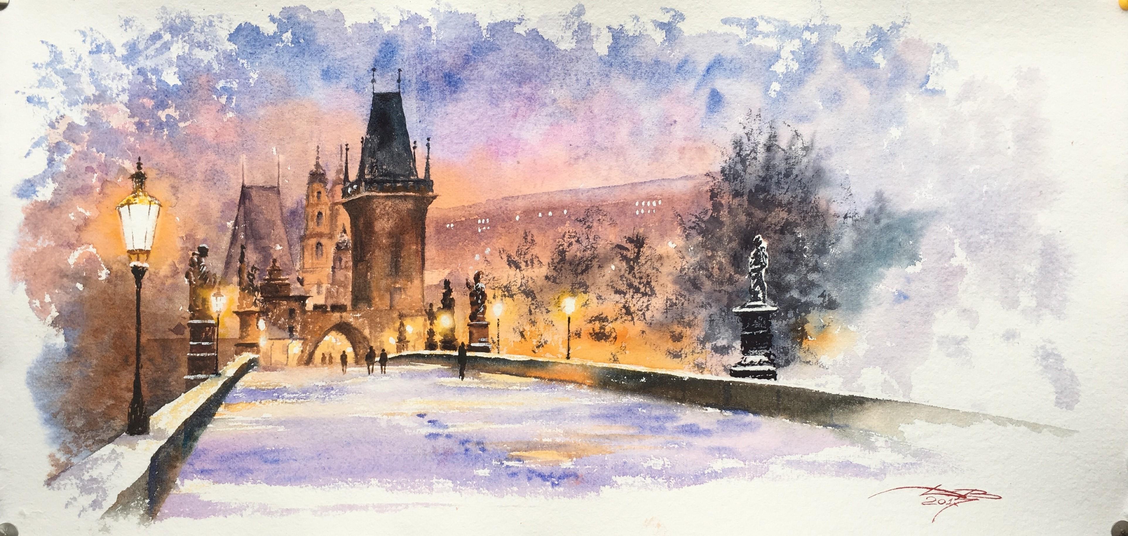 Prague Карлов мост. Зима