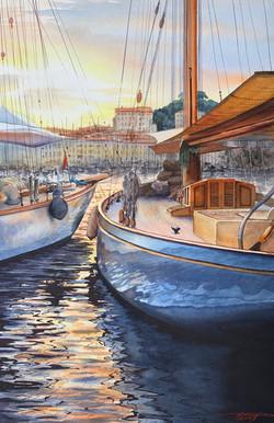 Yachts in marina. Evening.