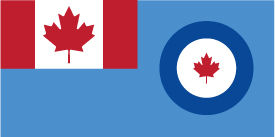 Air Command Flag of Canada. A light blue background with a Canad flag in the upper left quadrant and logo on the right.