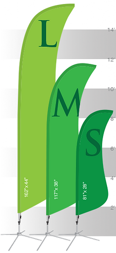 Size chart for our sail shape custom banners.