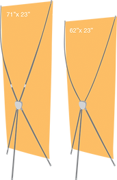 Diagram illusrating the two sizes of X-Stands.