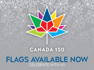 Canada 150 logo as used by Flags Unlimited.