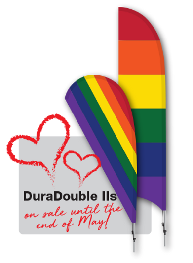 Pride flags printed on DuraDouble II or feather banners.