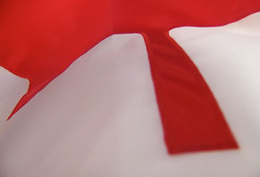 Close up view of an applique Canadian flag.