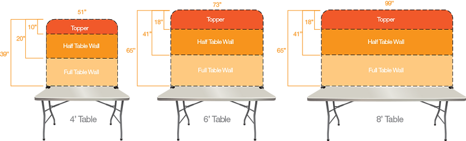 Diagram showing the different size of custom printed Lemonade Stands availble.