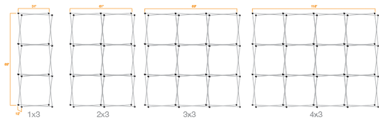 Diagram showing the various sizes of Pop Up Backdrops available.