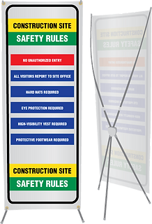 Construction site safety rules banner stand.