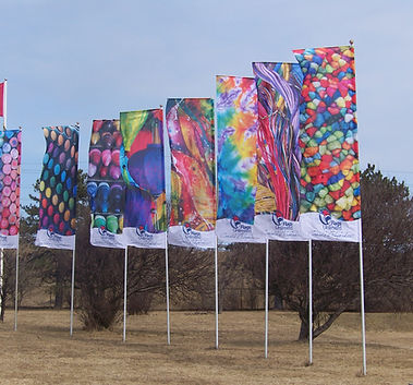 Colourful RotoArm Banners on lawn.