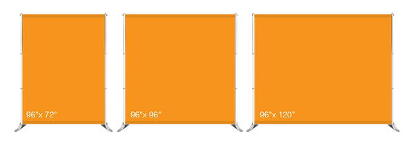 Diagram showing the various sizes the Adjustable Backdrop can accomodate.