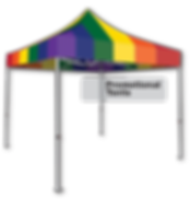 Custom promotional tent printed with Pride rainbow.