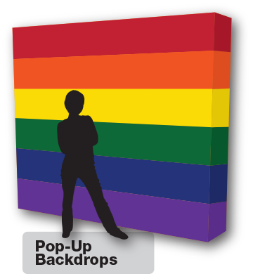 Pride flag printed on a Pop Up backdrop from Flags Unlimited.