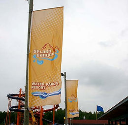 Custom printed banner for Splash Canyon.