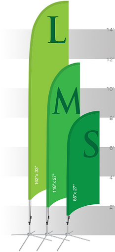 Size chart for custom feather banners.