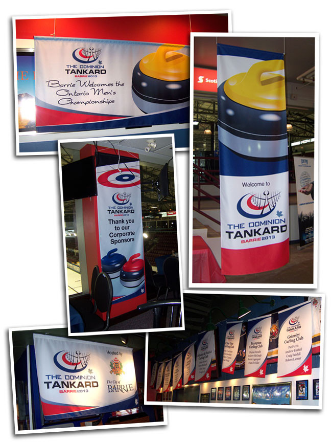 Event banners that Flags Unlimited designed and produced for the 2013 Dominion Tankard.