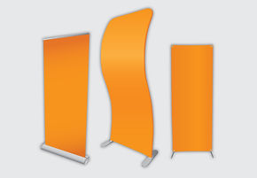 Illutration of custom printed banner stands from Flags Unlimited.