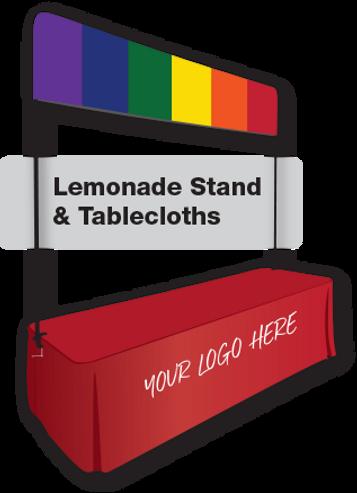 Pride rainbow printed on Flags Unlimited's Lemonade Stand.
