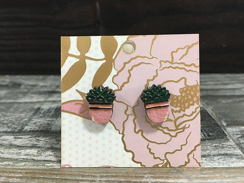Succulent wooden stud earrings!