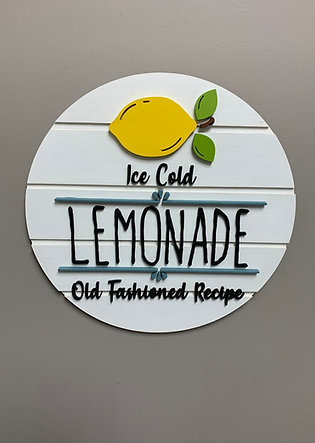 """3D round """"Ice cold lemonade old fashioned recipe"""" 8 colour choices!"""