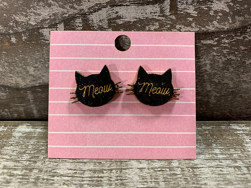 Cat head meow wooden stud earrings!