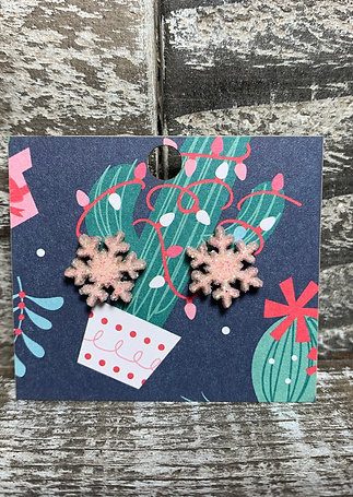 Glitter snowflake wooden stud earrings 35 colors!