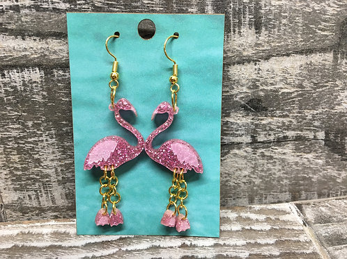Flamingo earrings with dangle legs glitter pink acrylic dangle/drop 2 colors