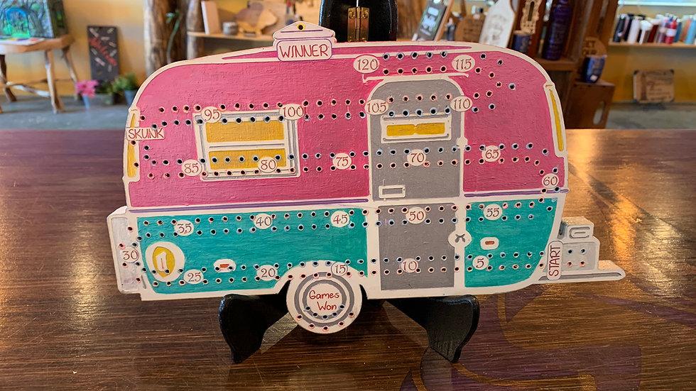 Retro white/pink/blue bowler Crib board/Cribbage Board