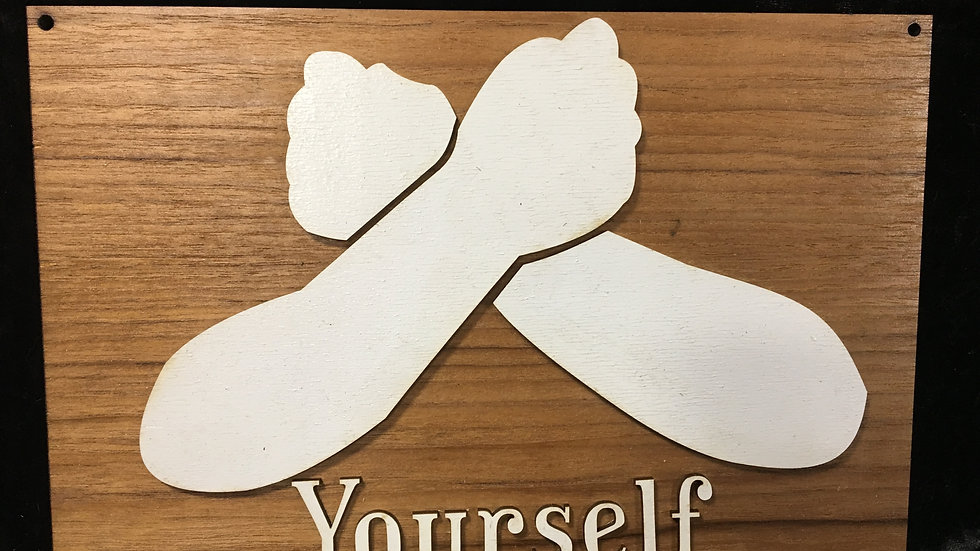 3D Love Yourself sign language wooden birch unique sign house decor.