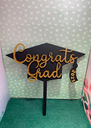 Congrats Grad cake topper choose from 64 colours!