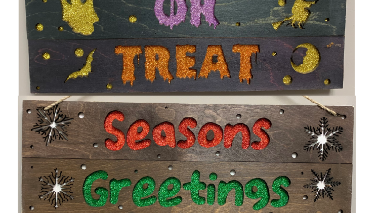 Double sided glittered Christmas/ Halloween sign decor