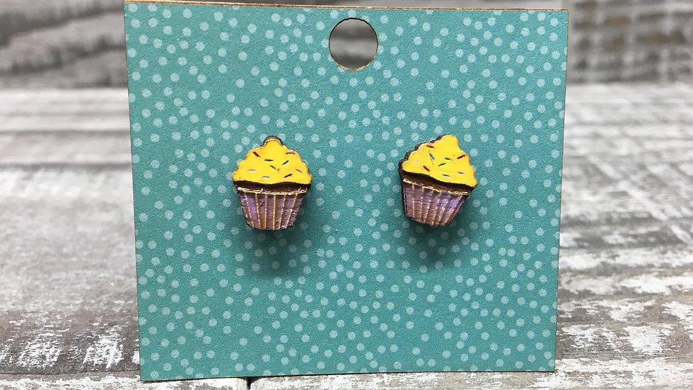 Cupcake wooden stud earrings!