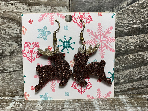 Glittered Rudolph/ Reindeer dangle earrings