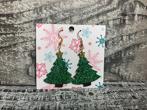 Glittered Christmas tree dangle earrings 35 different colors!