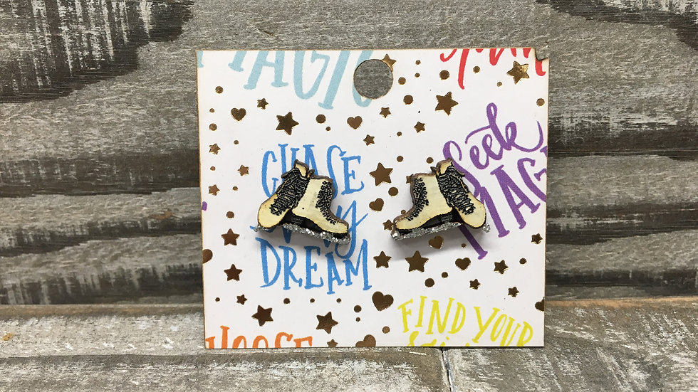 Figure skates with glittered silver blades wooden stud earrings 6 colors!