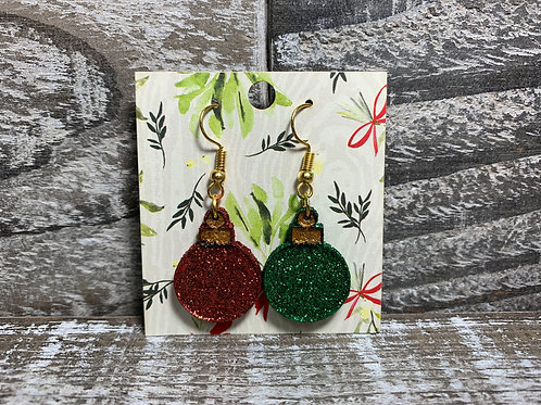 Vintage style glittered Christmas ornament dangle earrings 35 colors!