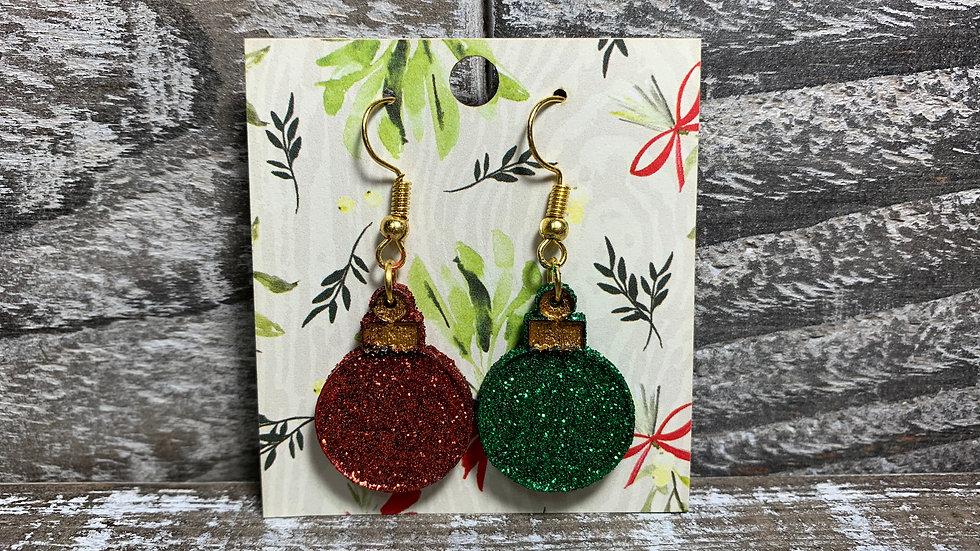 Vintage style glittered Christmas ornament dangle earrings 35 colors!