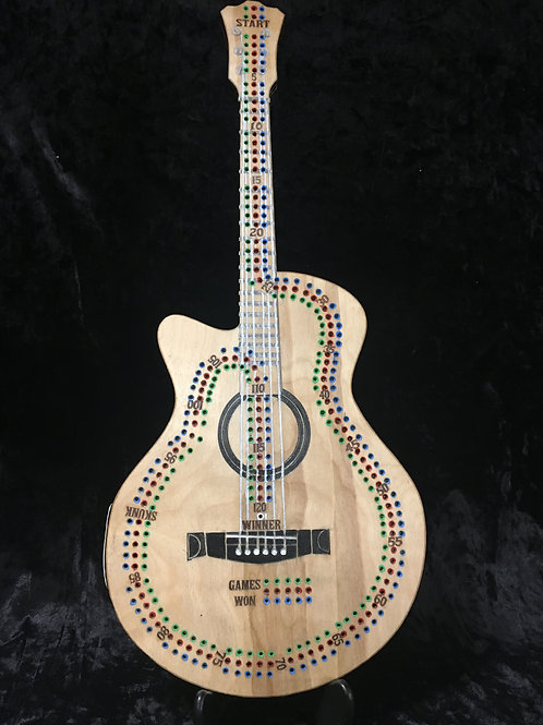 Acoustic guitar Crib board/Cribbage Board you choose 2,3 or 4 player